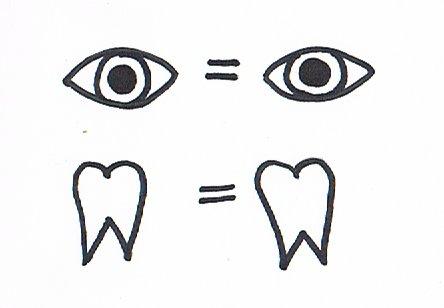 Ein Bilderrätsel zu dem Sprichwort Auge um Auge, Zahn um Zahn