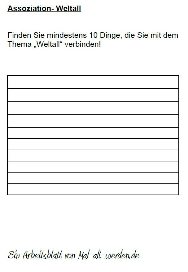 "Arbeitsblatt-  ""Assoziation"" zum Thema Welltall"