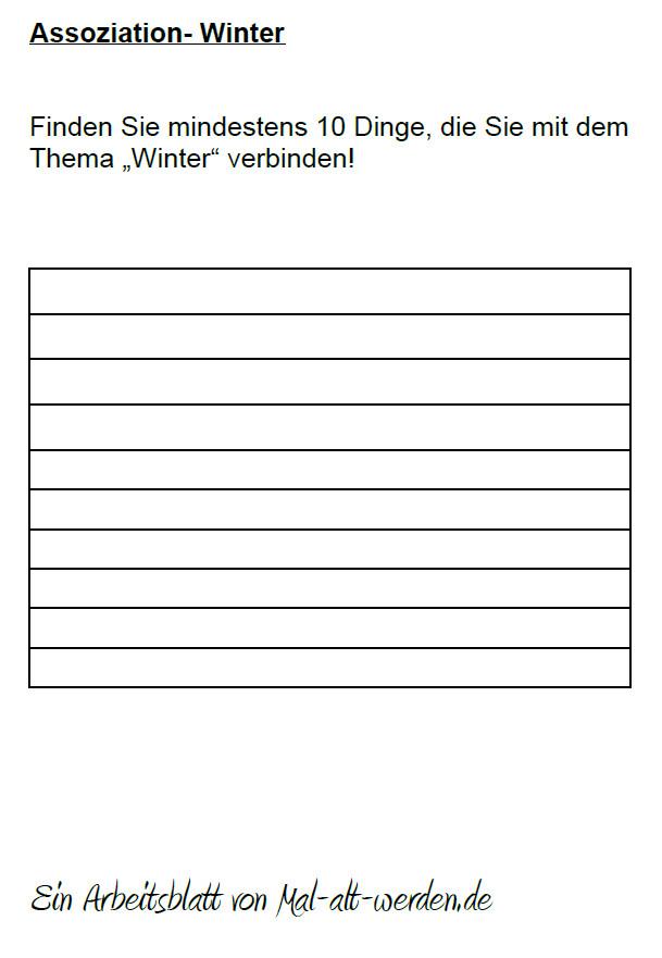 Ein Arbeitsblatt mit einer Assoziationsu00fcbung zum Thema Winter
