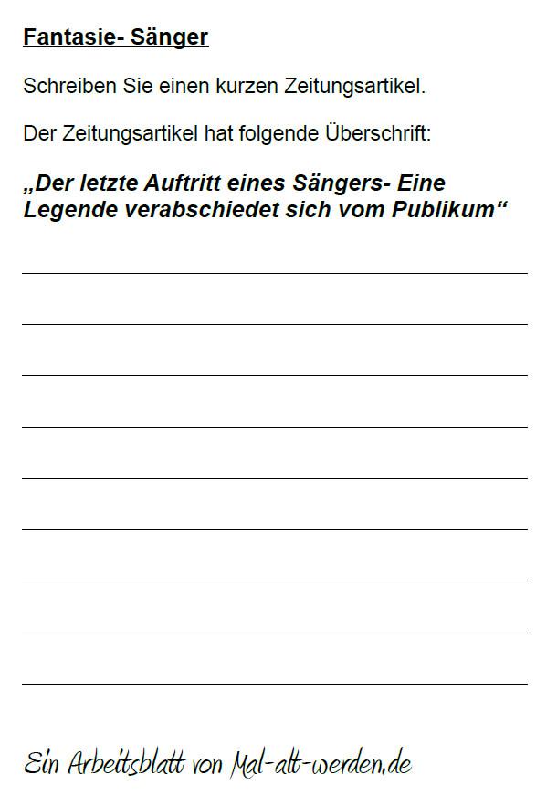 """Arbeitsblatt- """"Fantasie"""" zum Thema Sänger"""