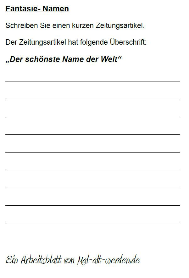 """Arbeitsblatt- """"Fantasie"""" zum Thema Namen als PDF"""