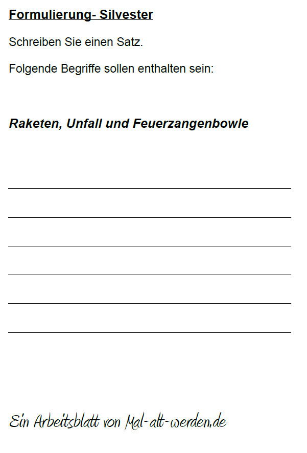 "Arbeitsblatt- ""Formulierung"" zum Thema Silvester"