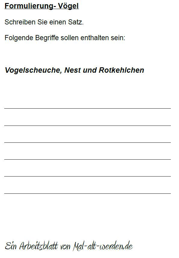 """Arbeitsblatt- """"Formulierung"""" zum Thema Vögel"""