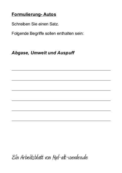 """Arbeitsblatt- """"Formulierung"""" zum Thema Autos als PDF"""
