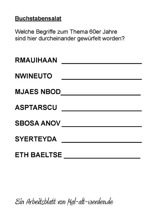 buchstabensalat- 60er jahre