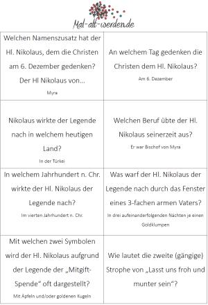 Das große Nikolaus Quiz. 40 Rätselfragen zum Ausdrucken
