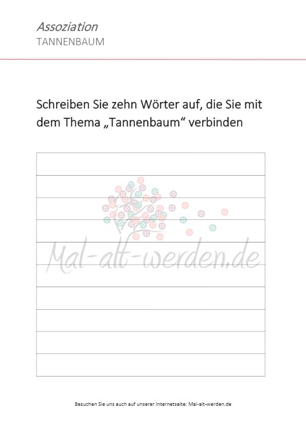ein arbeitsblatt als assoziationsübung zum thema tannenbaum
