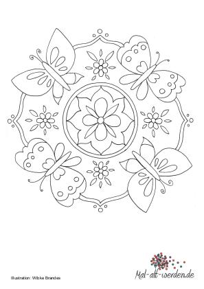 Mandala Schmetterling Eine Malvorlage Fur Senioren
