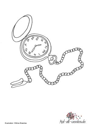 Eine Taschenuhr Als Ausmalbild
